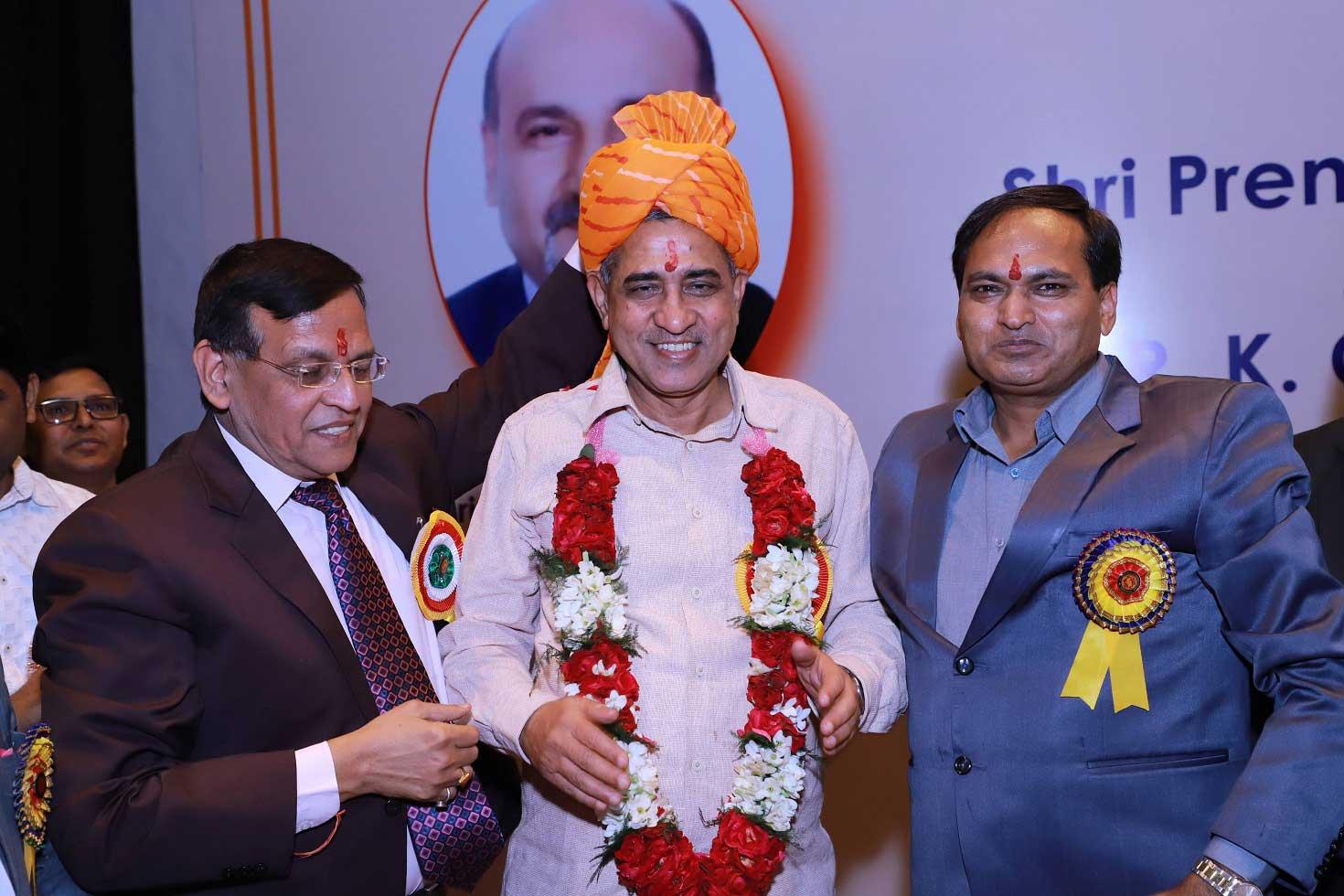 Mr RK Chatterjee wearing flower mala